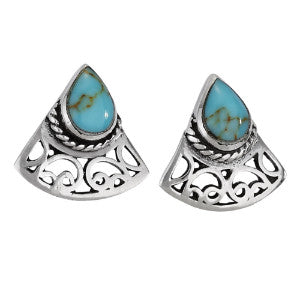 Triangle Turquoise Silver Stud Earring