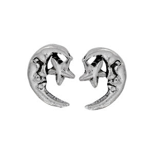 Crescent Moon and Star Silver Stud Earring