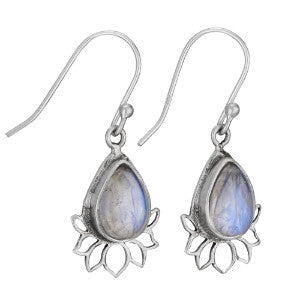 Teardrop Lotus Moonstone Silver Earring