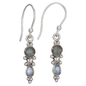 Labradorite and Moonstone Silver Earring