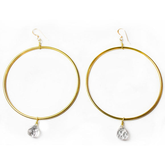 Brass Circle Earrings with Clear Quartz