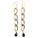 Brass Link Earrings with Black Onyx