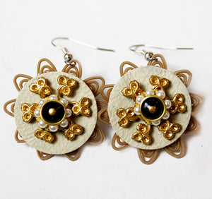 Upcycled Gold and Pearl Floral Earring