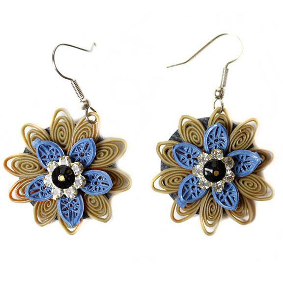 Upcycled Blue Floral Earring