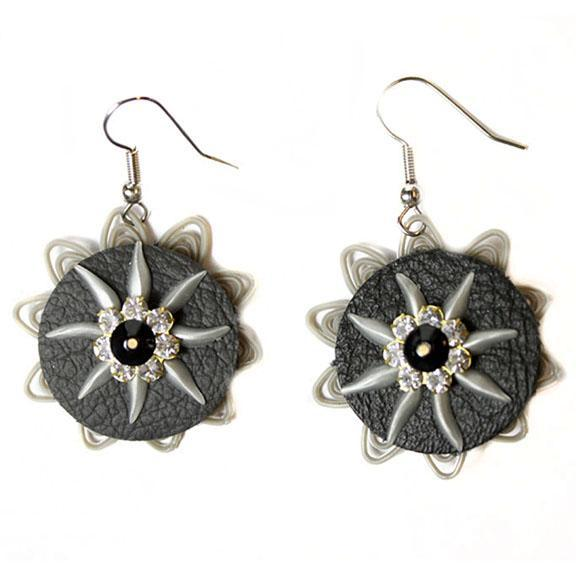 Upcycled Grey and Crystal Floral Earring