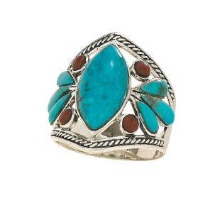 Turquoise & Carnelian Silver Ring, Sz 7