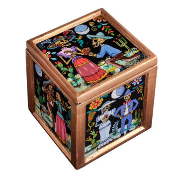 Black Day of the Dead Glass Box