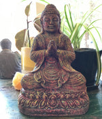Buddha Praying Multi-Colored Volcanic Stone 9""