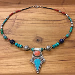 Nepalese Single Beaded Necklace with Metal Round Charms and Pendant