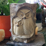 Owl Family Hand Carved Wood