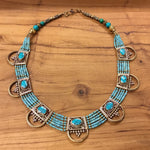 Nepalese Six Strand Necklace with Multiple Pendants