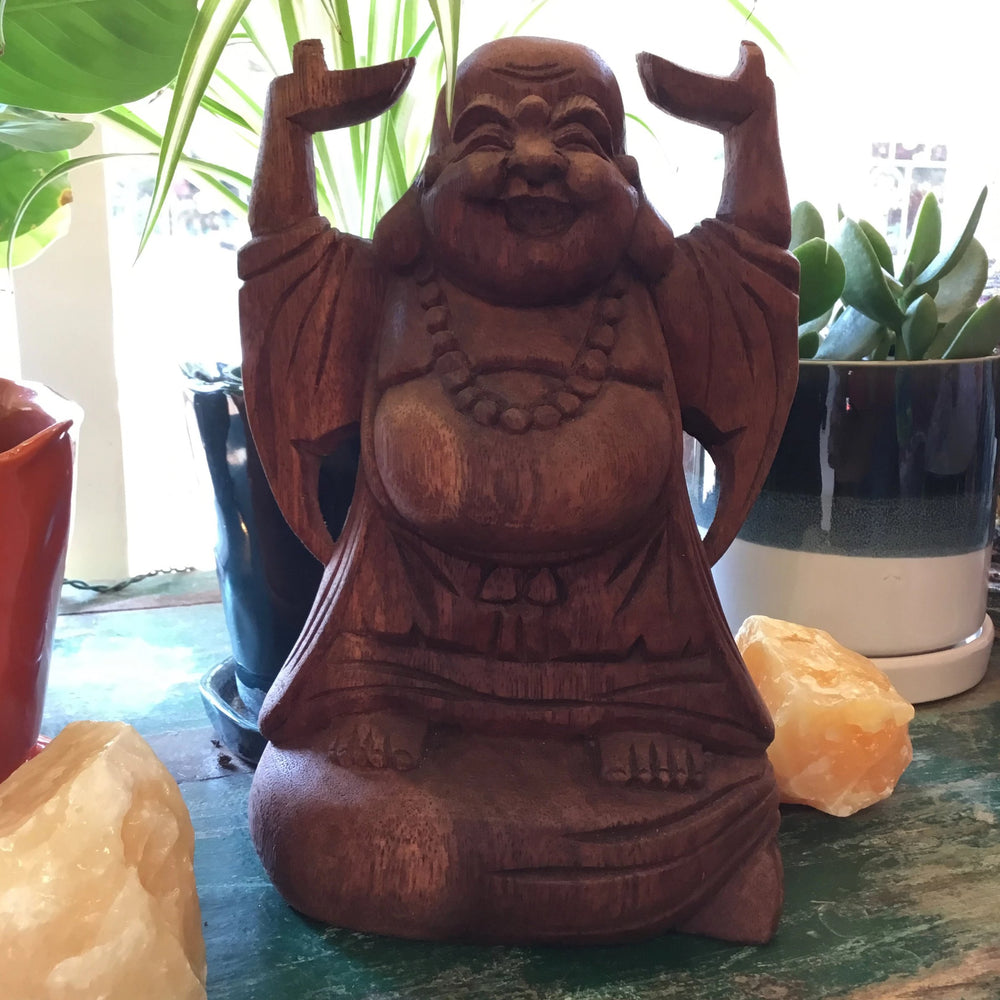 Laughing Buddha Wood Carved Statue 8.5""