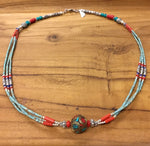 Nepalese Beaded Three Strand Necklace with Metal Round Charm