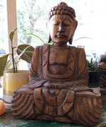 Primitive Buddha Hand-Carved Wood 12""