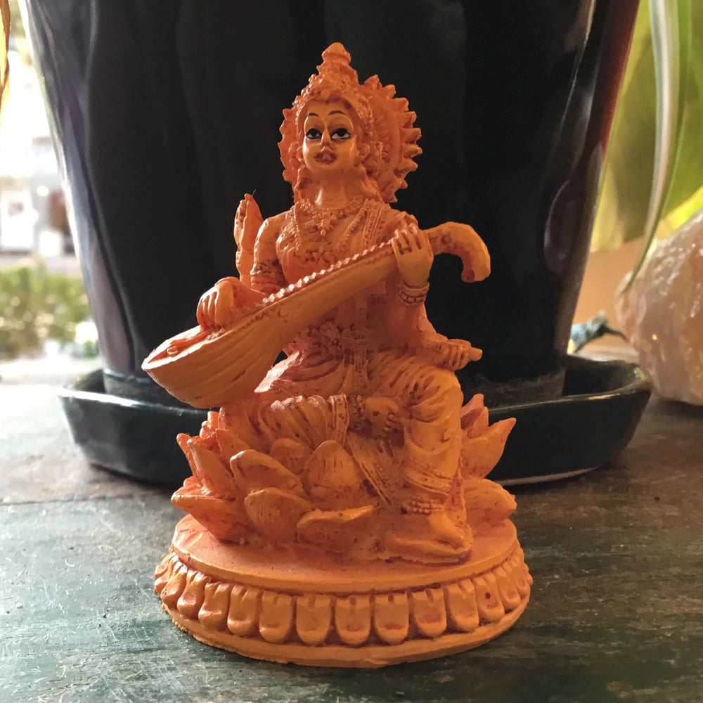 Lakshmi Playing Sitar Orange Statue
