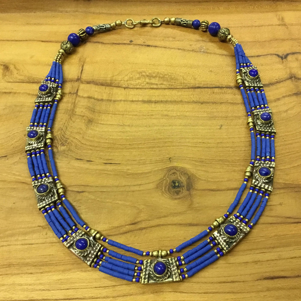 Nepalese Five Strand Blue Beaded Necklace with Metal Embellishments