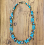 Nepal Five Strand Beaded Necklace with Metal and Stone Embellishments
