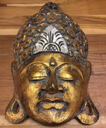 Buddha Wall Hanging Distressed Gold 12""