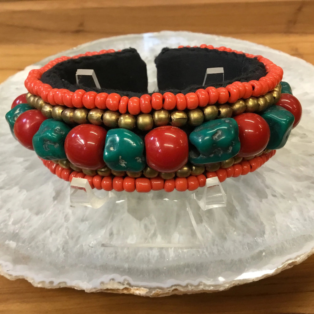 Nepalese Five Strand Beaded Bangle