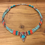 Nepalese Five Strand Beaded Necklace with Pendant