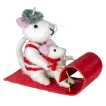 Fair Trade Toboggan Mice Ornament