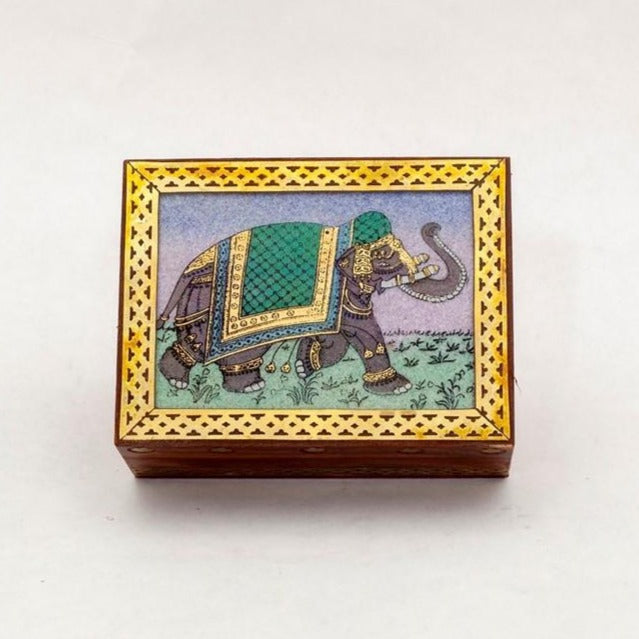 Elephant Wooden Box with Stone Inlay