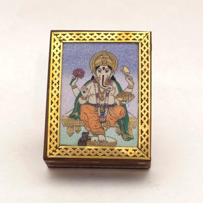 Ganesha Wooden Box with Stone Inlay