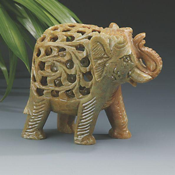 Soapstone Elephant with Carved Elephant Inside