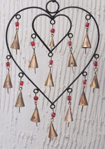 Double Heart Chime with Bells