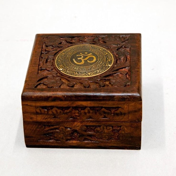 Wood Box with Brass Om