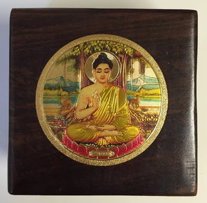 Wood Box With Gold Buddha