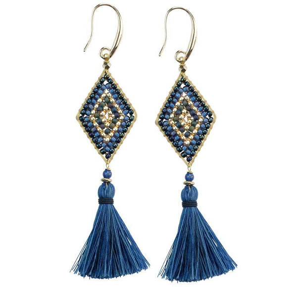 Fair Trade Blue Tassel Earrings