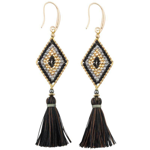 Fair Trade Black Tassel Earrings