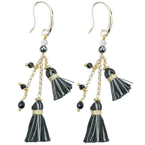 Beaded Tassel Earring in Black