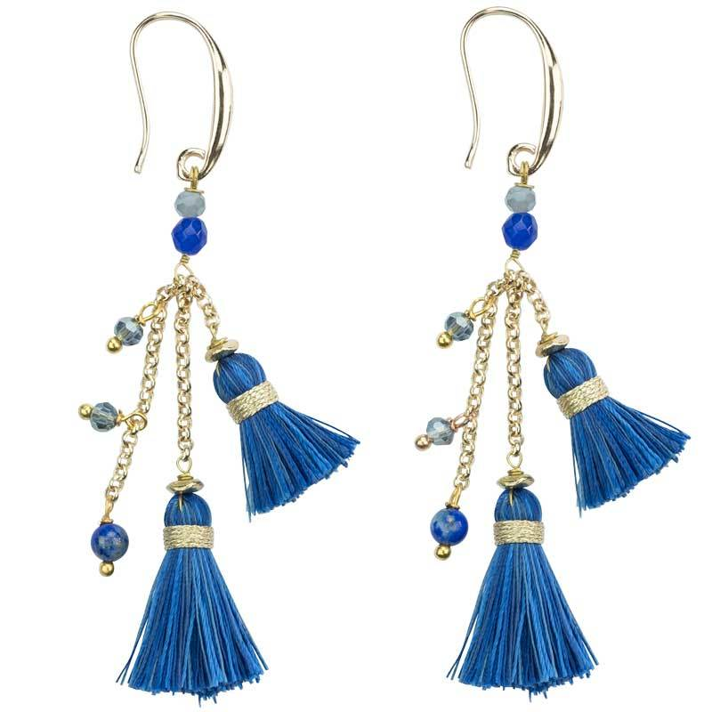 Beaded Tassel Earring in Blue