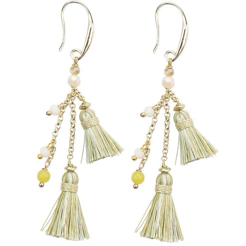 Beaded Tassel Earring in Pastel
