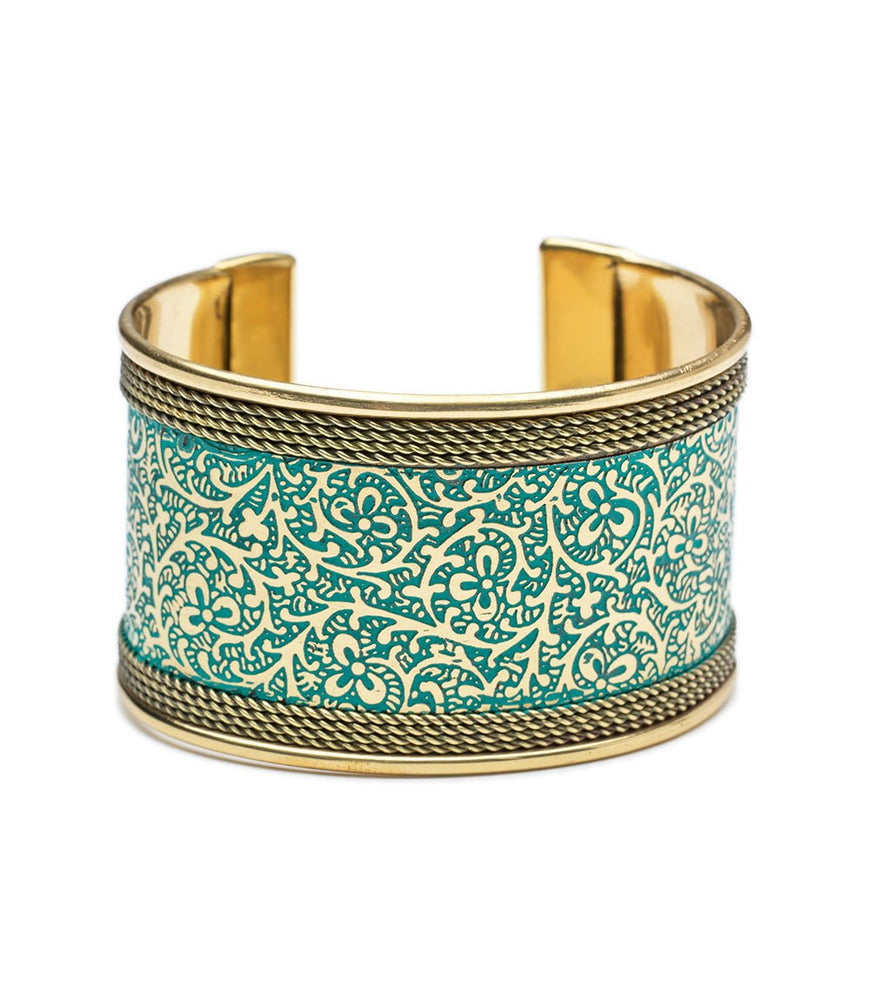 Fair Trade Teal & Gold Cuff