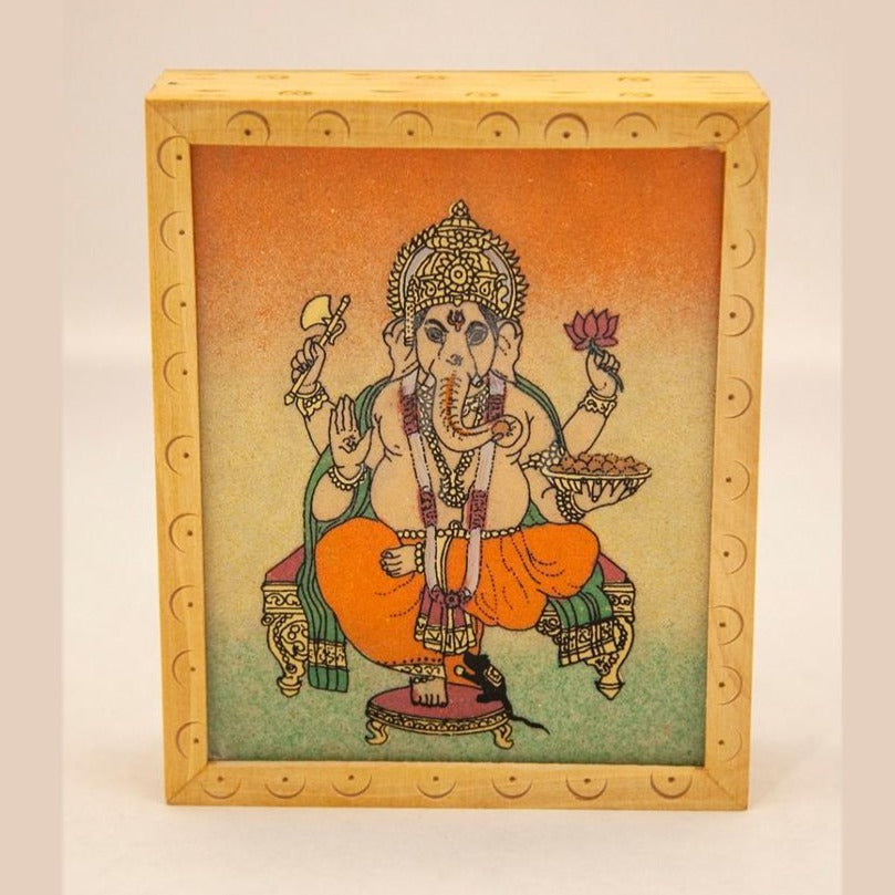 Ganesha Wooden Box with Gemstone Inlay