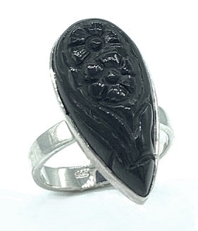 Black Onyx Carved Silver Ring