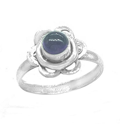 Amethyst Flower Silver Ring