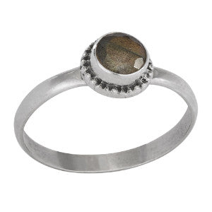 Labradorite Round Faceted Silver Ring