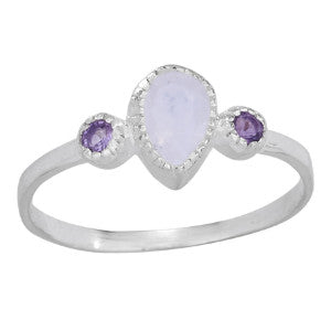 Moonstone and Amethyst Silver Ring