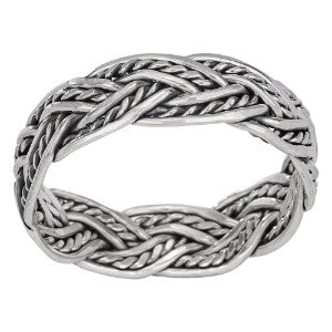 Oxidized Braided Silver Ring