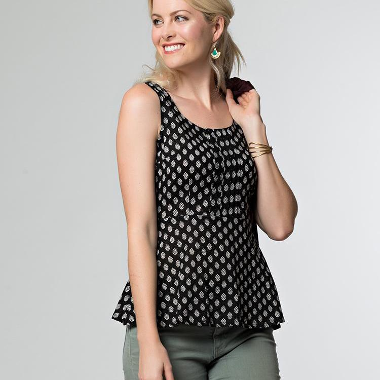 Prim and Pleat Top Black