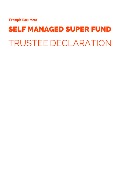 SMSF Trustee Declaration Example