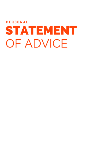Statement of Advice Cover Page – Personal