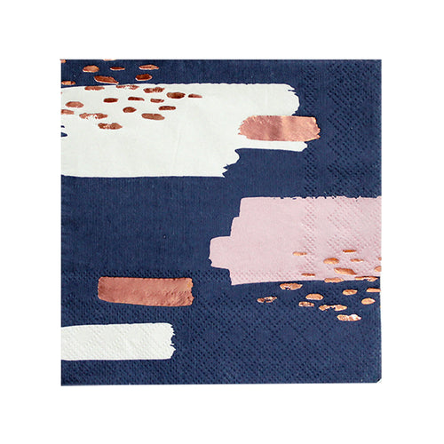 Erika - Navy Abstract Cocktail Napkins