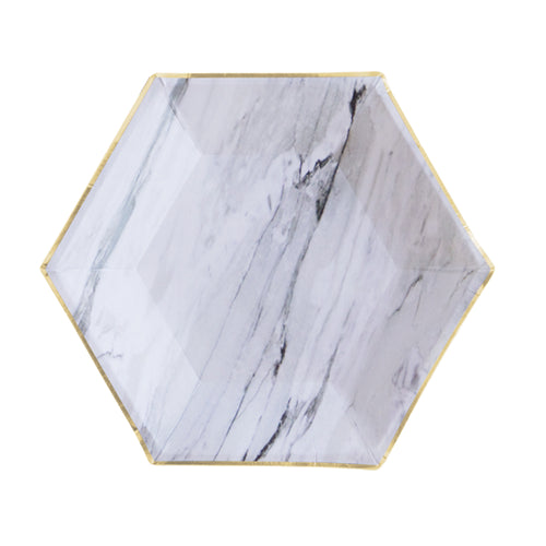 Marble Hexagon Small Party Plates