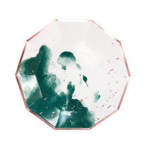 Manhattan - Dark Green Watercolor Large Paper Plates