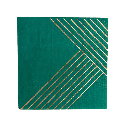 Manhattan - Dark Green Striped Cocktail Napkins